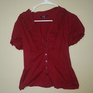 Maurices Red Button Down Shirt